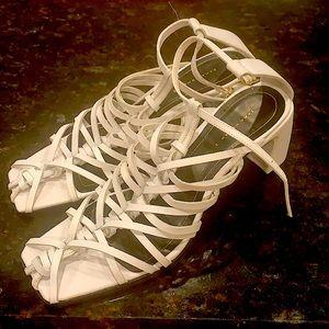 Zara strappey block heels white W's 42 authentic